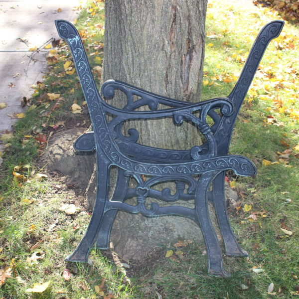 Vintage Garden Park Bench Architectural Support Arms-Pair-Cast Metal-Hearts