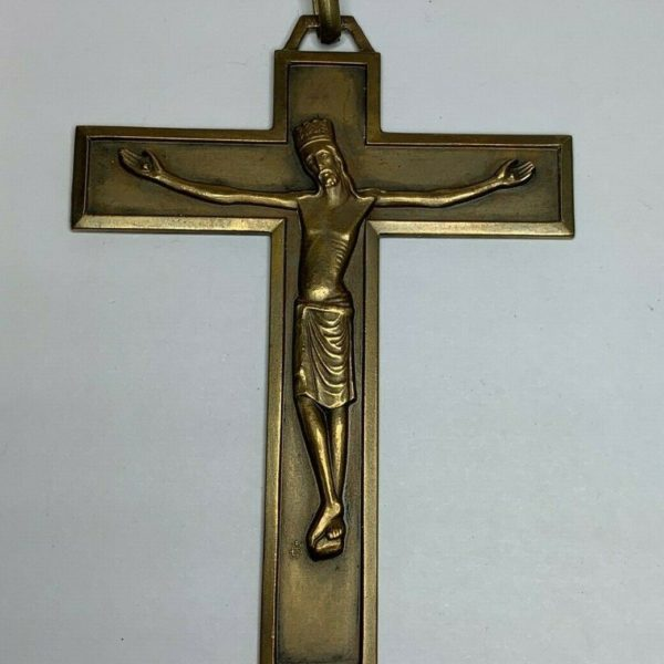"† HTF SCARCE PRIEST'S PERSONAL VESTMENT BRASS CROSS CRUCIFIX 3"" 1/8 19.85 GRS †"