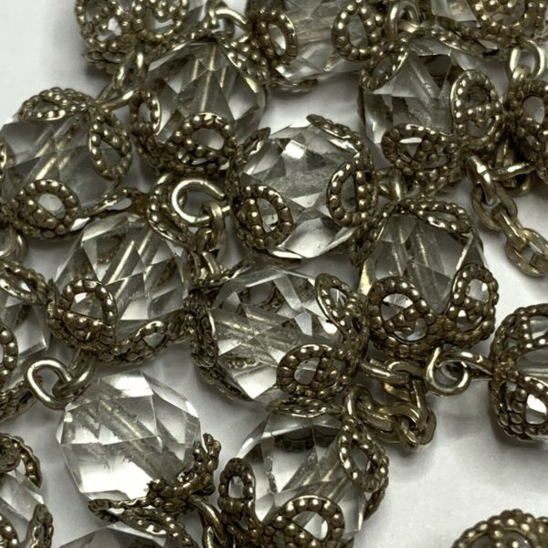 """† VINTAGE STERLING ROCK CRYSTAL DOUBLE CAPPED ROSARY 32 1/2"""" NECKLACE 62 GRS †"""