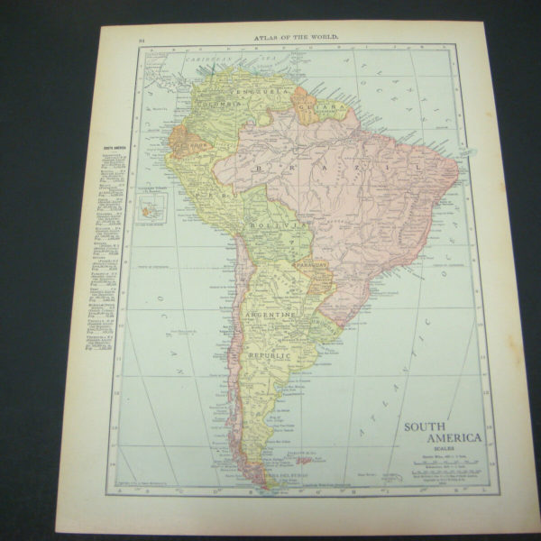 1914 Rand McNally Atlas Map Page South America / Cuba Color Suitable To Frame