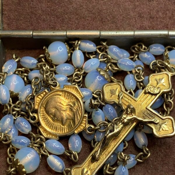 """† SCARCE ANTIQUE GOLD WASH OPAQUE OPALINE DOUBLE CAPPED PATER GLASS ROSARY 27"""" †"""