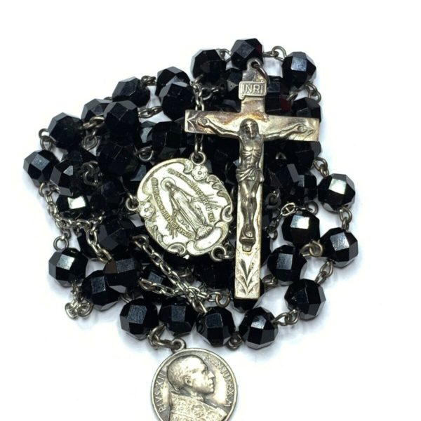 "† 1939 BLESSED VINTAGE STERLING BLACK GLASS ROSARY 30 1/2"" BUY POPE XII MEDAL †"