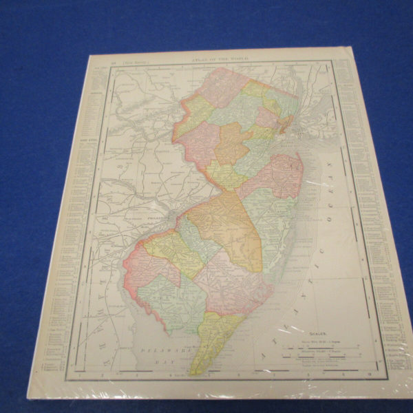 Rand McNally Atlas Map Page New Jersey 1902  Nice Color, Suitable To Frame LG