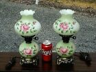 NICE VINTAGE SMALL 13'' PRETTY FLORAL 3-WAY TABLE LAMPS