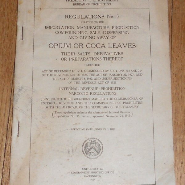 1927 Antique Medical Book Regulations No.5 Relating to Opium or Coca Leaves