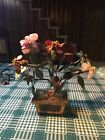 Antique Chinese Carved Nephrite Jade Tree With Carnelian Flowers Brass