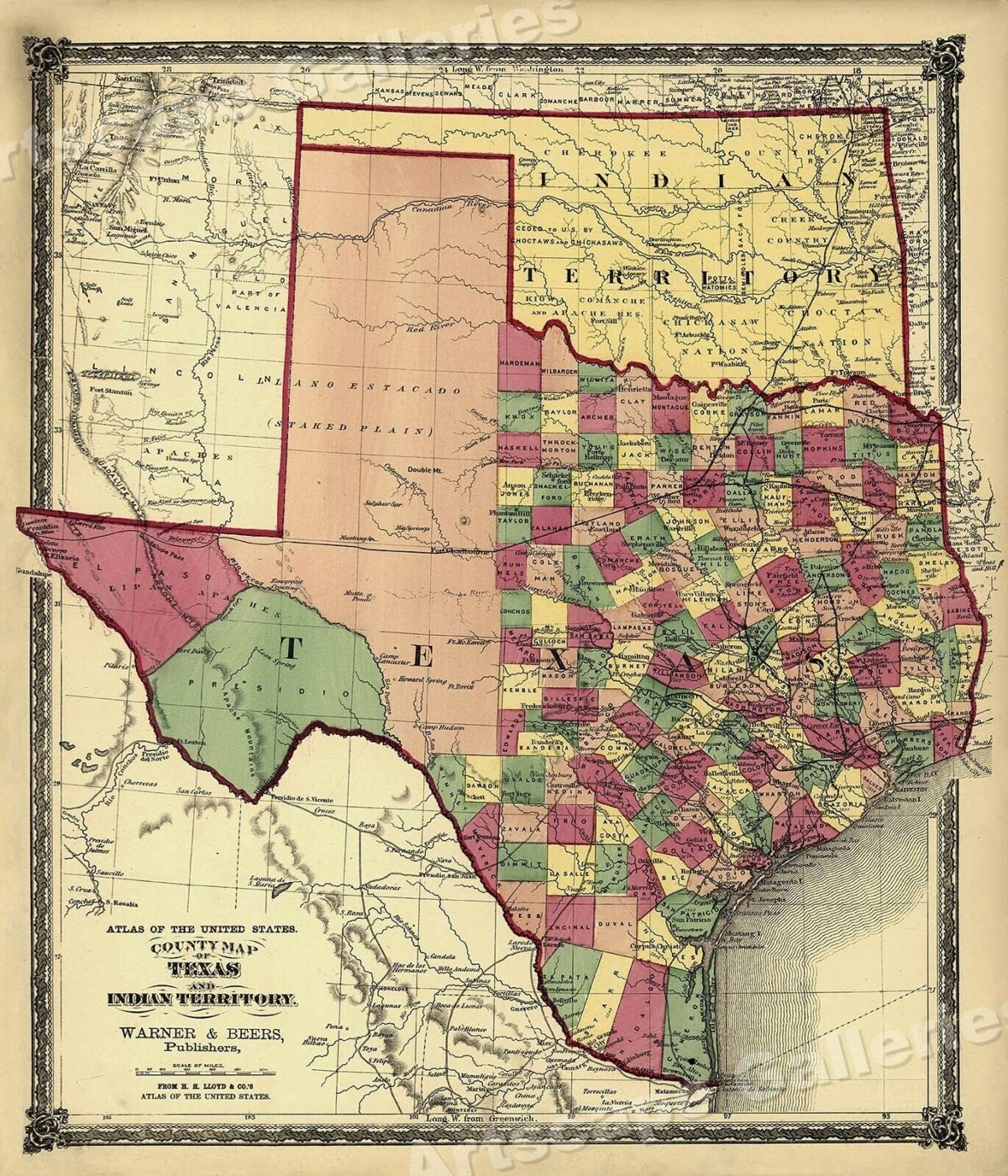 1870s Map of State of Texas and Oklahoma Indian Territory - 24x28