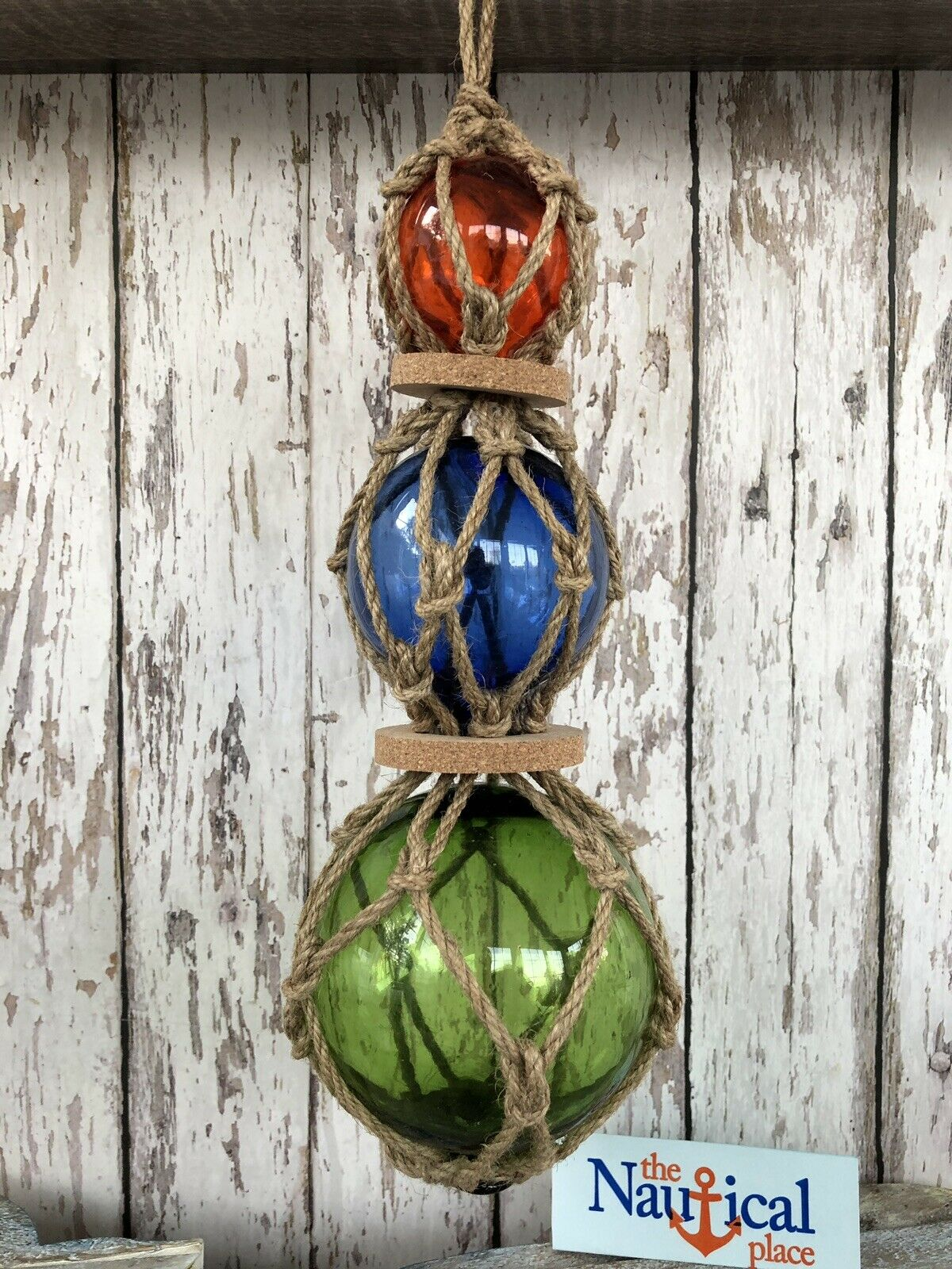 (3) Glass Fishing Floats On Rope ~ Nautical Fish Net Decor ~ Amber, Blue, Green