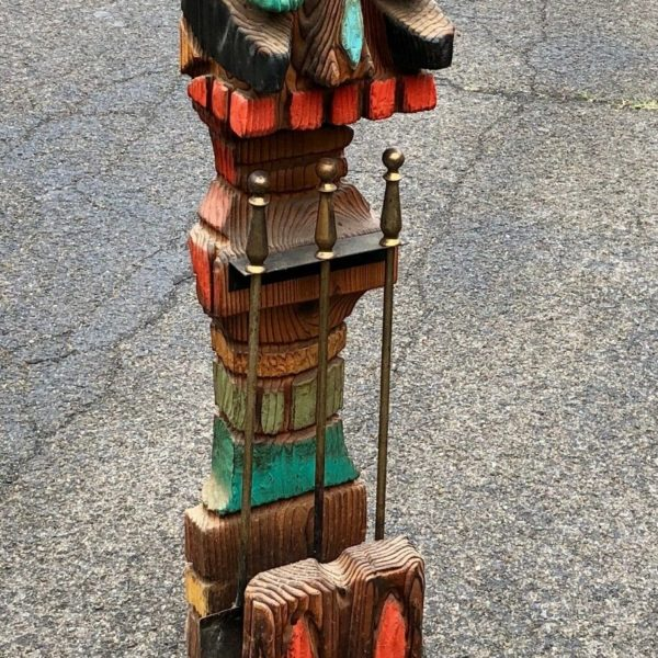 Carved Wooden Fireplace Hearth Tool Holder American Totem Pole Figure