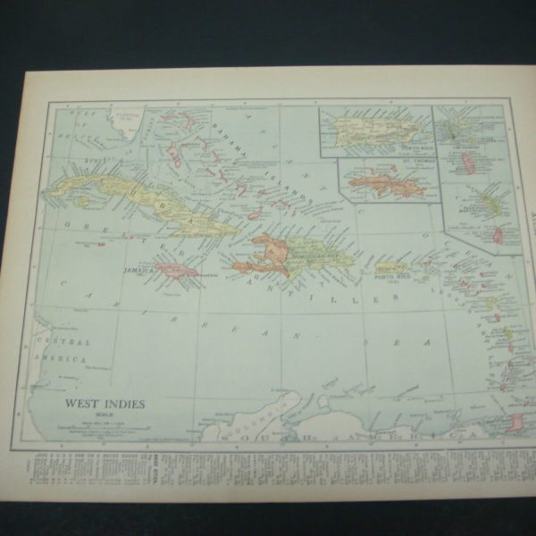 1914 Rand McNally Atlas Map Page West Indies Nice Color Suitable To Frame