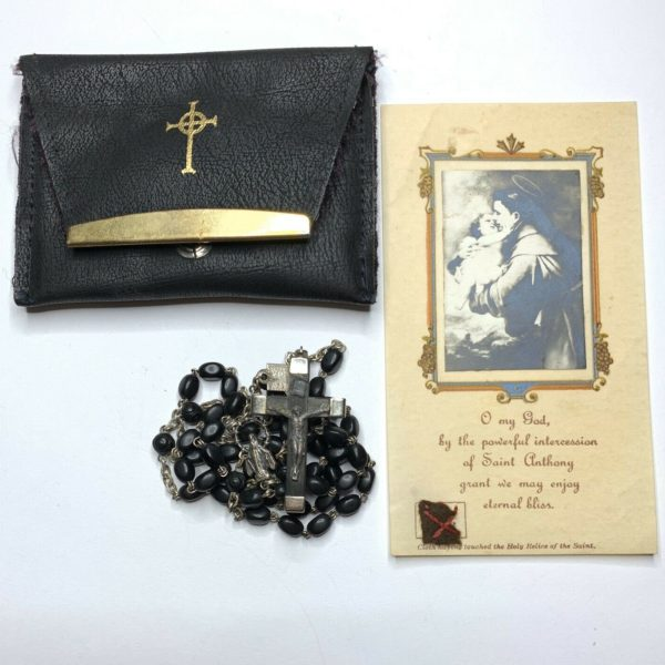 "† BLESSED ""ST ANTHONY"" RELIC CLOTH HOLY CARD BUY VINTAGE ROSARY"
