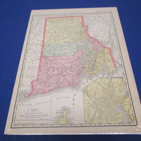 Rand McNally Atlas Map Page Rhode Island 1902  Nice Color, Suitable To Frame