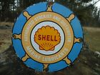 OLD VINTAGE 1921 SHELL MARINE LUBRICANTS PORCELAIN ADVERTISING GAS PUMP SIGN