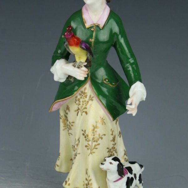 """Antique Dresden Volkstedt figurine """"Lady with Parrot and Dog"""" WorldWide"""
