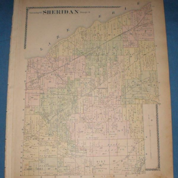 SHERIDAN DUNKIRK CHAUTAUQUA COUNTY NEW YORK 1881 ATLAS HAND COLORED MAPS