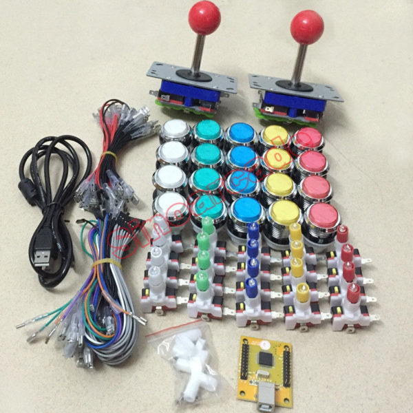 2 players DIY arcade joystick kit PC PS3 game USB controller LED button cables