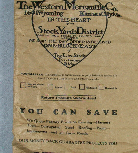 Vtg The Western Mercantile Co Package Bag Kansas City MO Stockyards