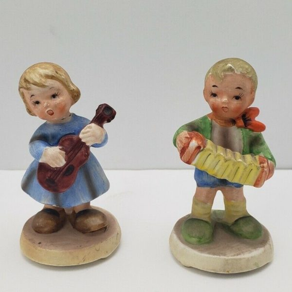 Vintage Nihon Yoko Boeki Boy & Girl Figurine Playing Musical Instruments