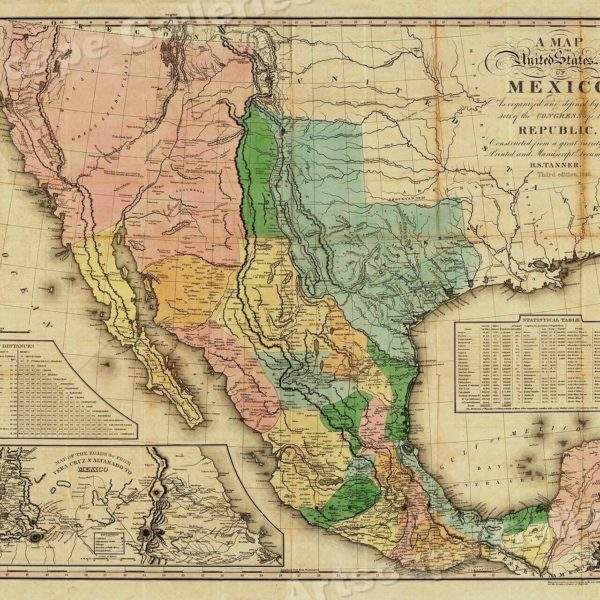 """1840s """"United States of Mexico"""" Vintage Style Southest Wall Map - 24x30"""
