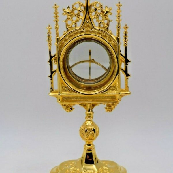"""+ Nice Goldplated Chapel Monstrance with Luna + 12"""" ht. + (CU374) chalice co."""