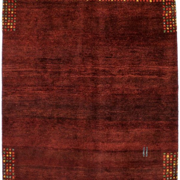 Excellent Plush Red Contemporary Tribal 6X5 Gabbeh Wool Oriental Area Rug Carpet