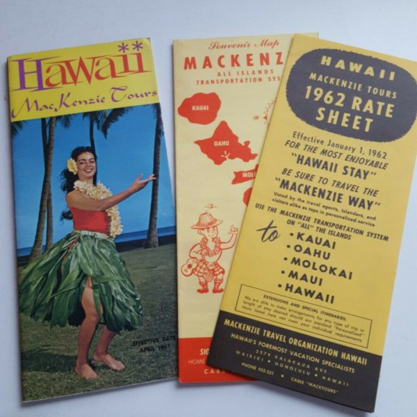 1961 Brochures Hawaii MacKenzie Tours Full Color Tour Packages & 1962 Rate Sheet