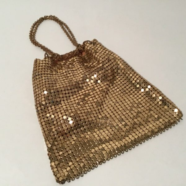 Antique Gold Mesh Purse, Whiting & Davis, Small With Drawstring Chain Beautiful