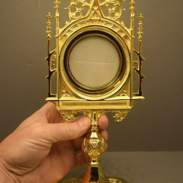 "+ Nice Goldplated Chapel Monstrance with Luna + 12"" ht. + (CU374) chalice co. +"