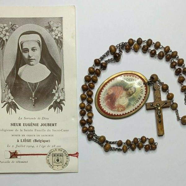 "† BLESSED ""EUGENIE JOUBERT"" RELIC CLOTH HOLY CARD BUY VINTAGE ROSARY LOT 5 1/4""†"