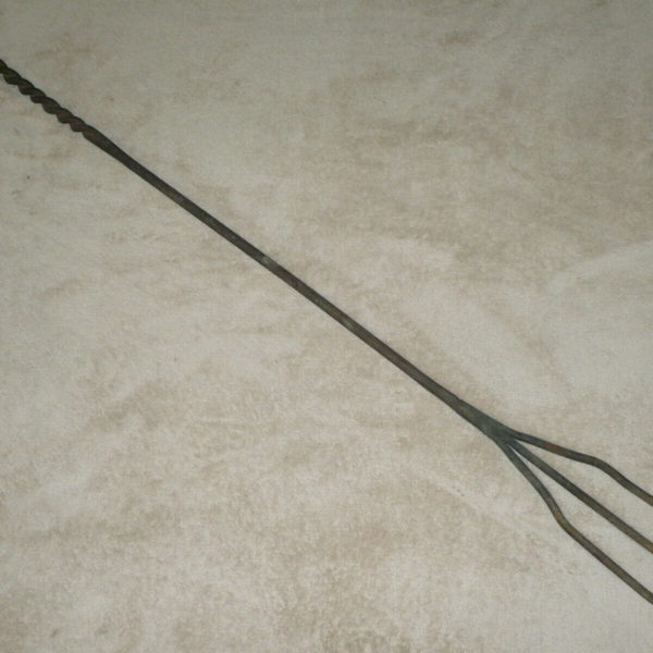 "Primitive Large 48"" Wrought Iron Trident Fork / Poker ~ Hearth / Fireplace Tool"
