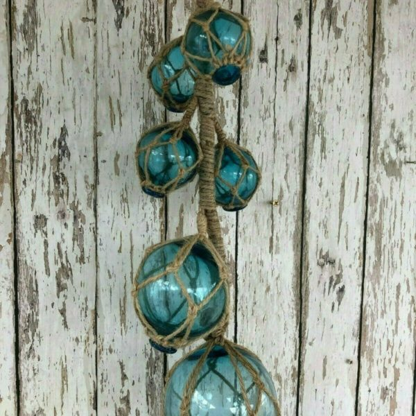 (6) Aqua Glass Fishing Floats On Rope ~ Nautical Fish Net Decor ~ Light Blue