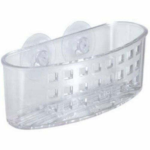 InterDesign Kitchen Sink Suction Holder for Sponges, Scrubbers, Soap - Clear