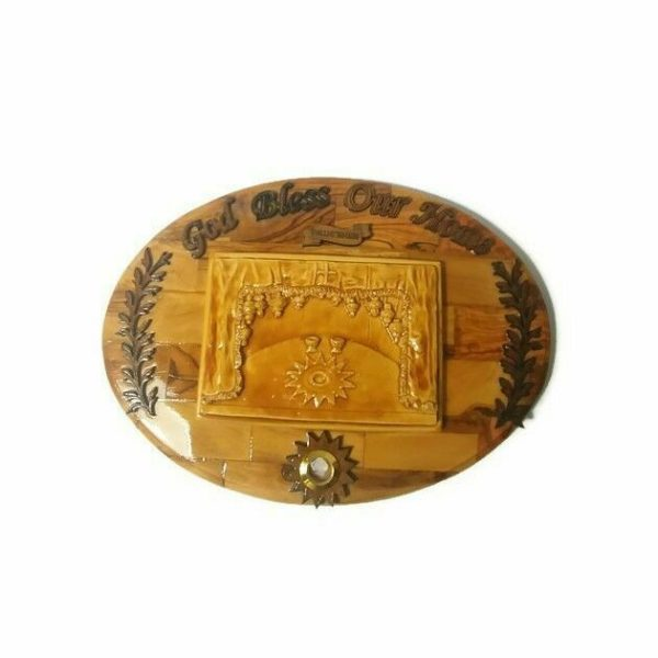 Bethlehem Reliquary Olive Wood And Ceramic Plaque Bless Our Home With Relic