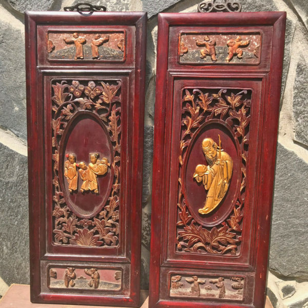 Pair Of Antique 100 Year Old Chinese Blackwood Carved Asian Art Pieces