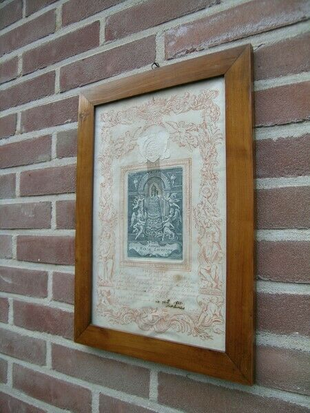 Antique frame with relic  document blessed Virgin Mary house of Loreto reliquary