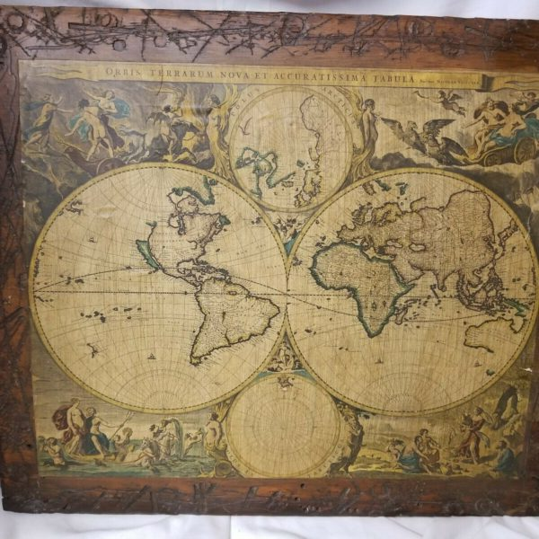 Wood Mounted Map Of Ancient Globe/Atlas/World Sealed Under Clear Hardener