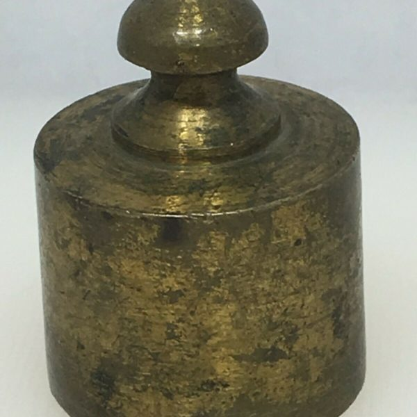 Vintage Lead & Brass Weight Balance Scale Round Mercantile Trade Laboratory