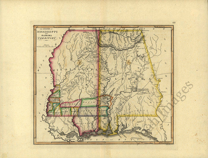 The state of Mississippi and Alabama territory c1810s map 15x12