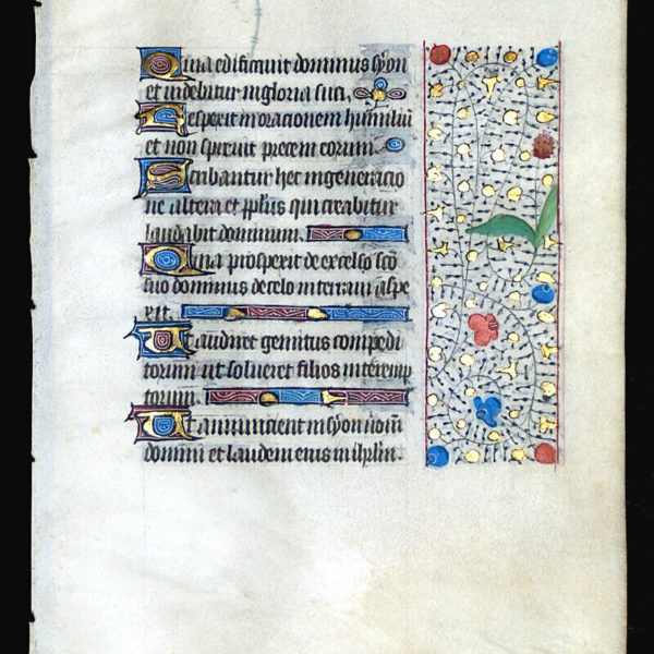 MEDIEVAL ILLUMINATED MANUSCRIPT  BOOK OF HOURS LEAF 1450, BORDERS, GOLD INITIALS