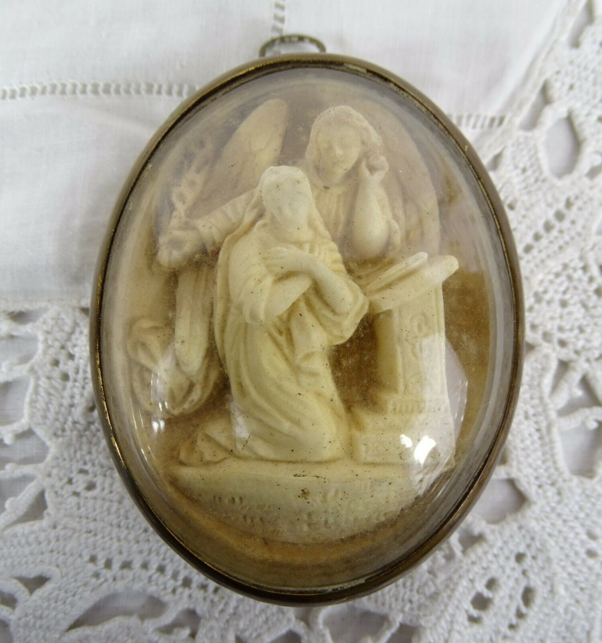 Antique French Carved Meerschaum Reliquary - Frame Convex GlassThe Annunciation