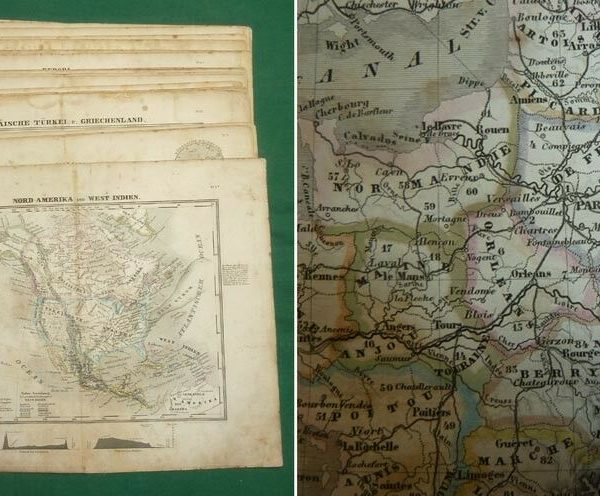 Original Antique Maps of Countries, Earth, Planets Circa 1825-1860 - SHIPS FREE