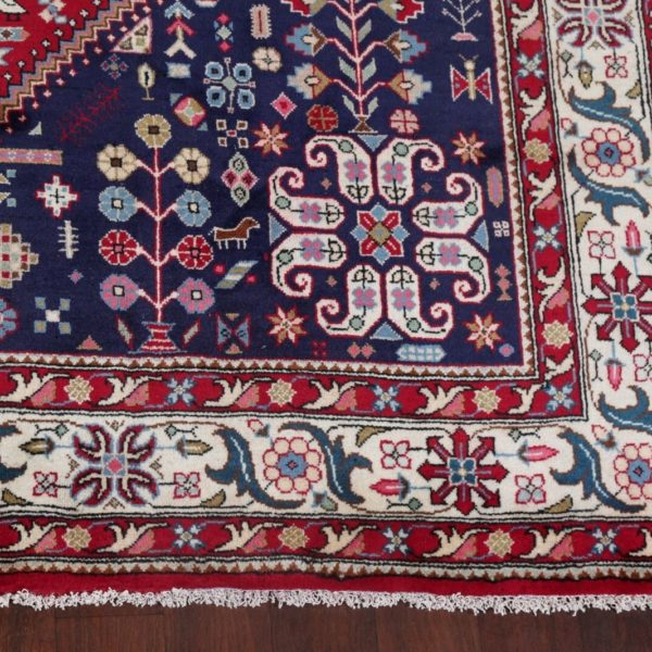 Vintage Geometric RED Tribal Abadeh Area Rug Hand-Knotted Oriental Carpet 8'x11'