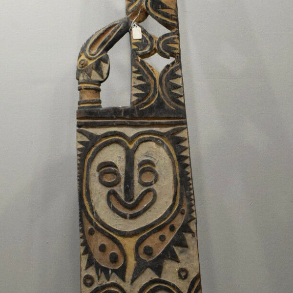 """Papua New Guinea Old Carved Men's House Large Post 95"""""""