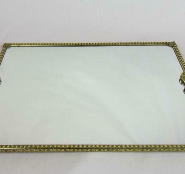 "*Large Rectangular Vintage Vanity Dresser Mirror Tray Filigree  18"" x 12"""
