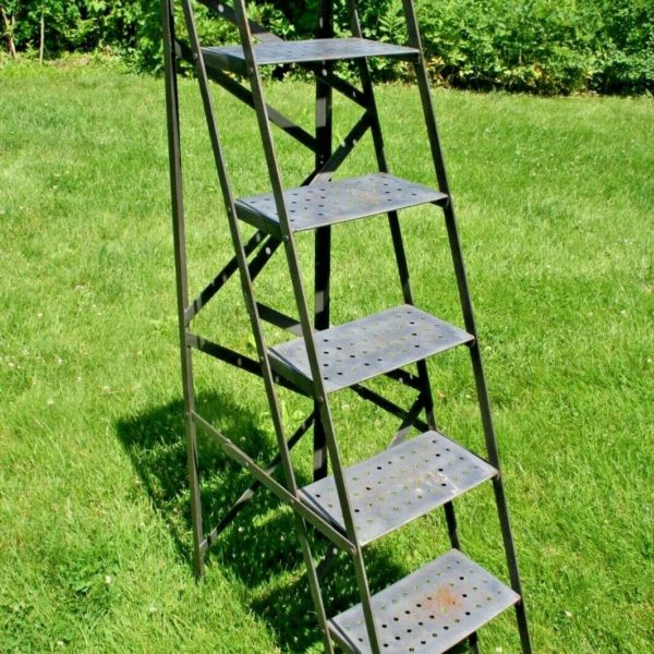 VTG INDUSTRIAL Folding Library Steel LADDER Mercantile Display Shelf French #1
