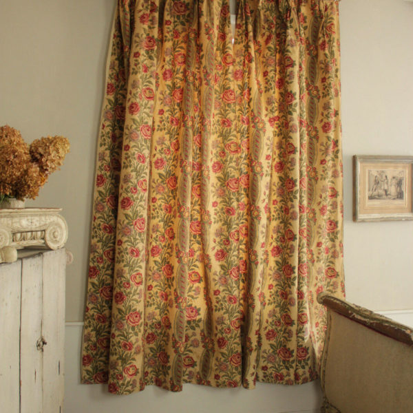 PAIR Curtains Antique French Floral & Stripe design roses, faded printed linen