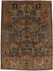 Plush Archaeology Vintage 10X13 Kashmar Hand Knotted Wool Blue Oriental Area Rug