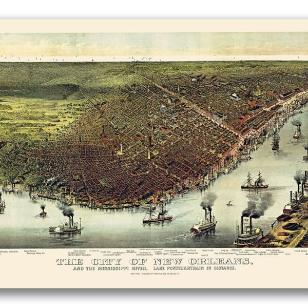 Bird's Eye View 1885 New Orleans Lousiana Vintage Style City Map - 24x36
