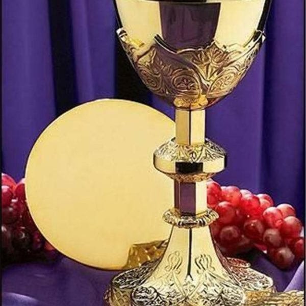 """Chalice and Paten Set 12 oz. 9.25""""H x 4.5""""D with Paten 5.5""""D 24 KT Gold Plated"""