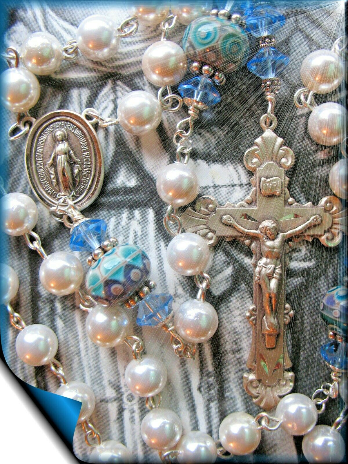 Pearl Rosary with French Lampwork Artisan Beads Blest w Padre Pio Relic Sterling